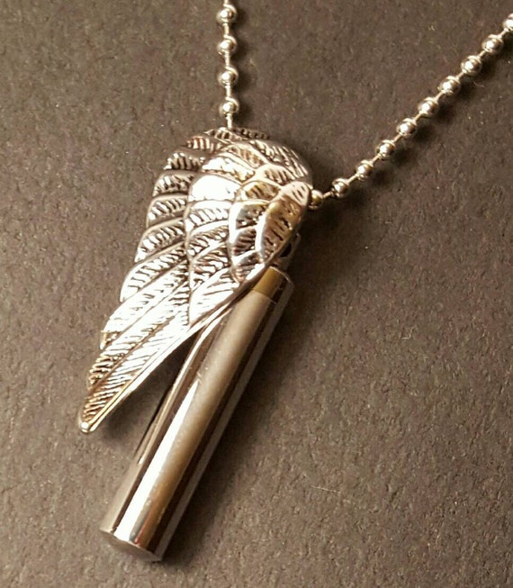 Stainless Steel Wing Urn Pendant Cremation Jewelry for Men
