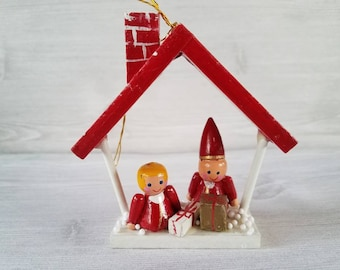 Vintage red wooden house ornament