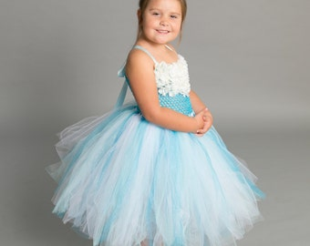 Flower girl dress - tutu dress - tulle dress - Light Blue Turquoise Tutu Dress - Girls/Youth/Toddler Dress - Pageant dress - Princess dress