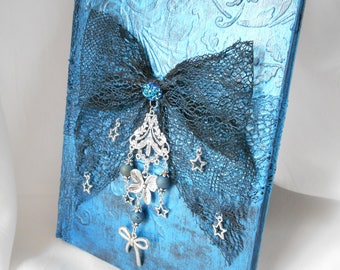 Blue notebook metallic A5 notebook lace bow, personalized travel diary, journal writing ladies silver tone, Pearl metallic