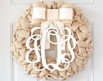 BEST SELLING Year Round Cream Wreath for Front Door Wreath with Burlap and Initial - Monogram EveryWreath, Spring Baby Shower Decor
