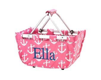 Monogrammed SMALL Market Totes - Pink w/White Anchors