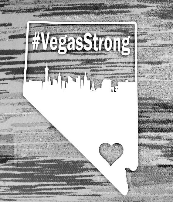 Vegas strong las vegas skyline nevada outline heart vinyl