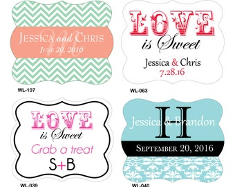 80 - 2 x 1.625 inch Diecut Custom Glossy Waterproof Wedding Stickers Labels - hundreds designs - change designs any color or wording