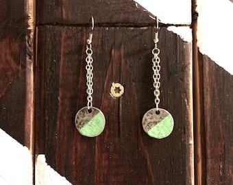 Geometric Metal Earrings/Green/Hand-painted/Sterling Silver