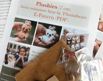 """Complete sewing KIT + pattern """"Plushies"""" for making miniature bear, DIY a teddy bear, how to sew a teddy bear, mini bear pattern"""