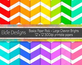 "Basics Paper Pack - Large Chevron Brights 12"" x 12"" Printable Digital Papers 300dpi"