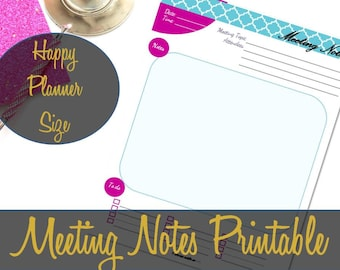 Happy Planner Inserts, Meeting Notes Insert, Happy Planner Printable, Create 365 Insert, MAMBI Insert, Happy Planner Pages, Meeting Log