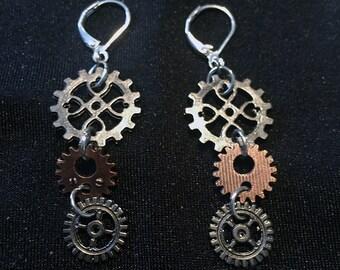 Steampunk Cog and Gear Earrings