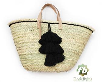 Pompon en laine petit panier Français noir: panier Français, marocain panier, sac en paille, français panier, sac de plage