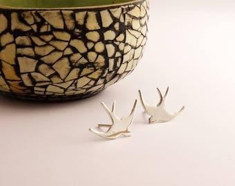 Silver Swallow Earrings, Swallow Earrings, Sterling Silver, Bird Earrings, Swallow, Earrings, Bird Studs, Silver, Studs