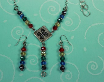 Sterling and Fine Silver Rainbow Necklace and Earring Set