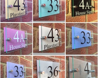 Modern house sign door number plaque / street name Pastel colour backings