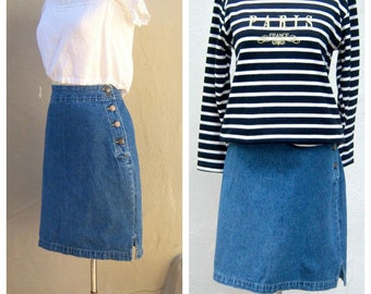High waist denim skirt / Cherokee midi MOM skirt / side buttons / womens small 4 6, 27 inch waist