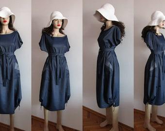 Navy Blue Dress, Women Dress, Cotton Dress, Long Dress, Denim Pocket Long Dress, Boat Neck Dress, Maxi Dress, Summer Dress, Oversized Dress.