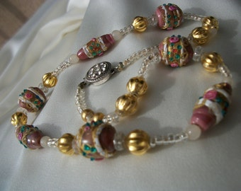 """Antique Venetian Wedding Cake Glass Bead Necklace 1920s ~ Hand Rolled & Gold Filled Fluted Lamp Work Beads ~ Glass Beads ~ Box Clasp 16"""""""