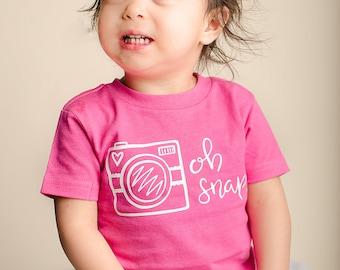 Oh Snap Shirt, Oh Snap Onesie, Camera Shirt, Camera Onesie, Baby Shower Gift, Expecting Mom Gift, Birthday Girl, Baby Girl Shirts
