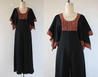 vintage 1970s jumpsuit / 70s palazzo pants jumpsuit /  70s wide leg jumpsuit / 70s black jumpsuit / boho jumpsuit / size small medium