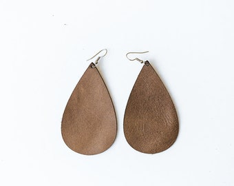 Taupe drop earrings | Taupe leather earrings | Lightweight earrings | Leather teardrop earrings | Nickel free earrings