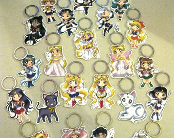Sailor Moon Keychains, Earrings, Necklace - All Sailor Senshi (Venus, Mars, Jupiter, etc), Tuxedo Mask, Luna and Artemis, Starlights, Etc.