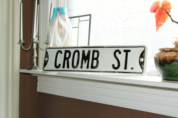 Vintage Street Sign Cromb St Black and White 1950s