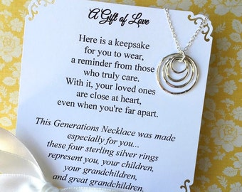 GREAT GRANDMOTHER NECKLACe Grandma Gift 3-4-5 Generations Family Necklace POEM Grandma Jewelry Sterling Silver Circles Represent Generations