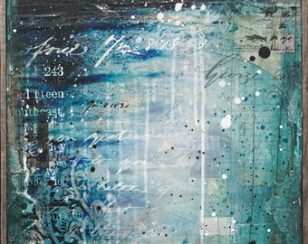 Blue Harbor | Lighthouse Painting | Rhode Island Art | Lighthouse painting | Mixed Media Art | New England Art | Nautical Decor