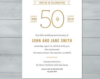 Anniversary Party Invitation  |  Wedding Anniversary Party Invitation  |  Anniversary Invite  |  50th Wedding Anniversary
