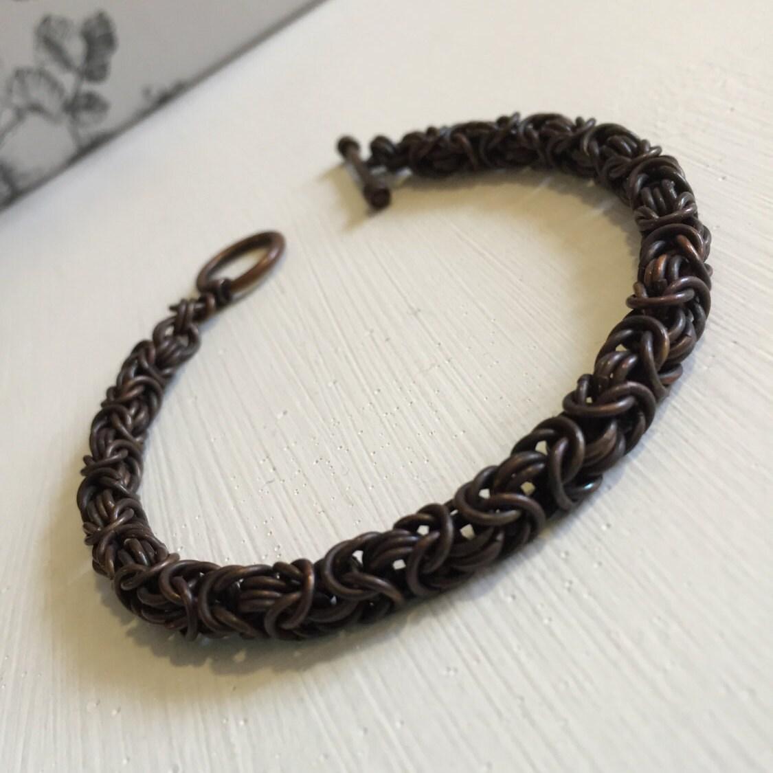 Dunklen Kupfer Armband Herren Kupfer byzantinischen Armband