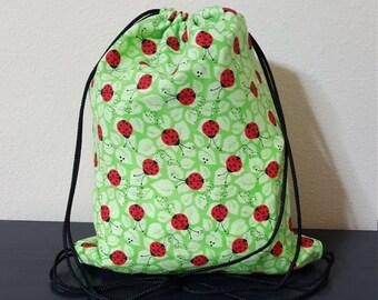 Children's Ladybug Drawstring Bag; Ladybug Backpack; Kids Bags