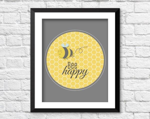 Bee Happy Nursery Art Typography Print Nature