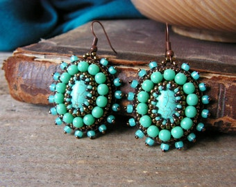 Turquoise Earrings Beadwork Earrings Bead embroidery Earrings Turquoise Copper MADE TO ORDER