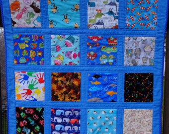 """Blue """"I Spy"""" Quilt by Made Marion"""
