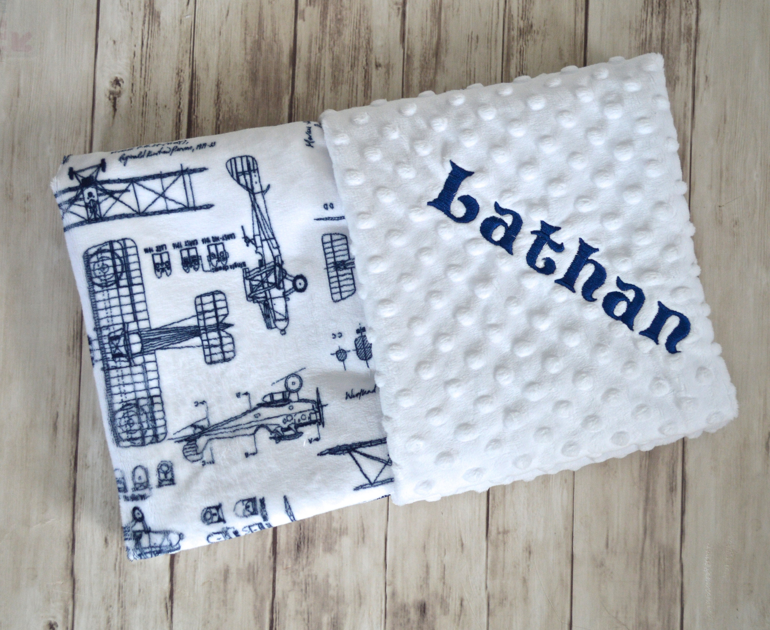 Monogrammed baby blanket minky airplane baby blanket navy blue and monogrammed baby blanket minky airplane baby blanket navy blue and white personalized boy gift with name vintage plane blueprint newborn malvernweather