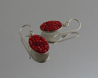 Red Mosaic Sterling Drop Earrings, seed bead mosaic jewelry, sterling french earwire, hypoallergenic, bridesmaid jewelry, Alabama metalsmith