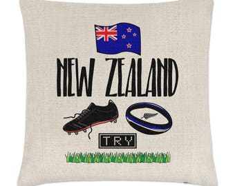 Rugby New Zealand Linen Cushion Cover