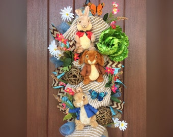 Peter Rabbit - Easter Wreath - Bunny Wreath - Peter Rabbit Wreath - Spring swag - The Whispering Wreath - Bunny swag - Easter swag