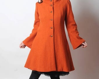 Orange wool coat, Orange womens coat with pixie hood, Orange hooded winter coat, virgin wool coat, Womens clothing, MALAM, Winter coat