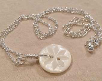 Silver Hand Wired Vintage Carved White Button Necklace