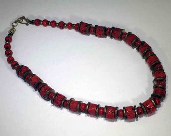 Red Coral Barrel beaded Necklace