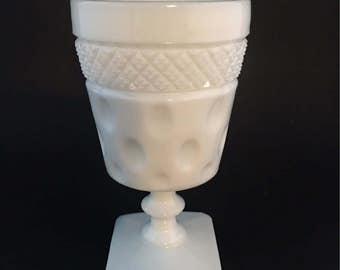 Vintage Milk Glass Thumbprint Pedestal Vase