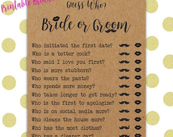 Bridal Shower Printable Game - He Said She Said/Guess Who  - Instant Download - Printable Bridal Shower Question Game