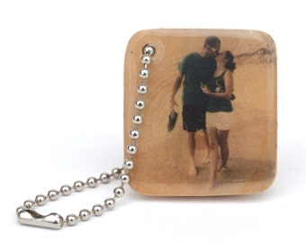 Mens Personalized keychain, Photo Keychain, 5th anniversary gift - wooden anniversary gift