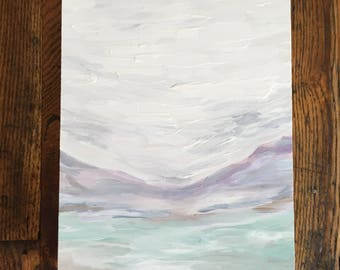 Original Abstract Landscape Painting on Wood Panel