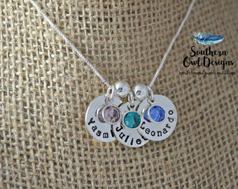 hand stamped mom necklace, grandmothers necklace, sterling silver, mom birthstone necklace, nana necklace,  mom jewelry, mother's day gift