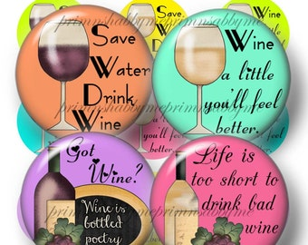 Wine Sayings, Bottle Cap Images, 1 Inch Circles, Digital Collage Sheet, Instant Digital Download, Wine Charm Bottle Caps (No. 2) 3 Sheets