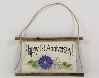 Happy 1st Anniversary Paper Quilled Magnet 522, Husband and Wife Gift, Kitchen Decor, Anniversary Ornament, 3D Paper Quilling, Couples Gift