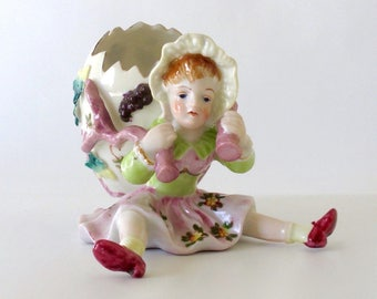 Vintage Figurine. Girl with Egg-Shaped Basket. Easter Basket. Pink. Flowers. Green. Ardalt, Lenwile. Hand Painted China. Porcelain. Japan