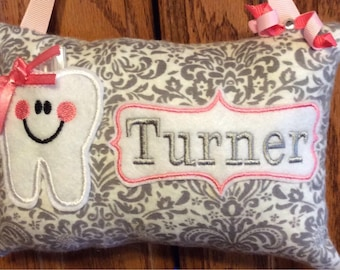 Grey dasmask personalized tooth fairy pillow