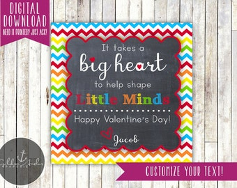 It Takes A Big Heart To Shape Little Minds - Teacher Gift Tag - Teacher Valentine - Printable DIY
